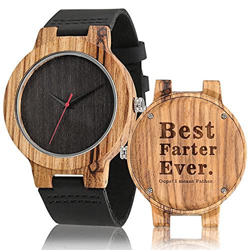 RWJFH Reloj de Madera Reloj de Madera para Hombre de Cuero, Movimiento de Cuarzo, Relojes de Madera Grabados Personalizados, Regalos para el Padre, Reloj de Pulsera Minimalista Informal, b