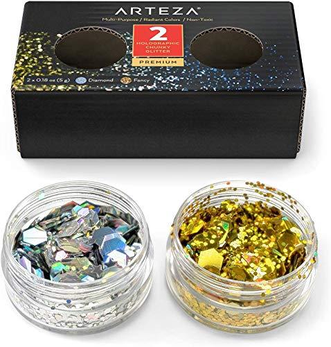 Arteza Purpurina holográfica multiusos | Set de 2 tarros de 5 gr| Copos brillantes de Oro y Plata | Botes de purpurina gruesa para maquillaje de Halloween, fiestas y manualidades