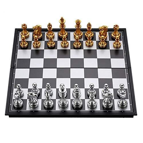 QWZ Juego de mesa de ajedrez de viaje portátil Juego clásico de ajedrez de metal Juego de ajedrez plegable magnético de viaje para niños o adultos, juego de ajedrez para niños y adultos (color A: A)