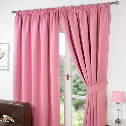 Dreamscene luxe volledig gevoerde paar thermische verduistering potlood plooi gordijnen met Tiebacks, Polyester, roze, 66 x 90-inch