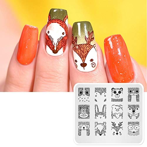 Nail Stamping Plates Stamp Nail Cute Animals Image Template Manucure Nail Stencil Templates Stamps Mould