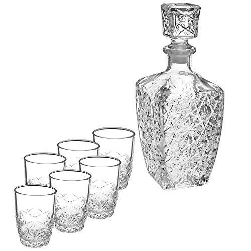 Bormioli Rocco Dedalo - Servicio de 7piezas para servir licor, de vidrio, transparente, 20.4x 21.10x 10.30cm