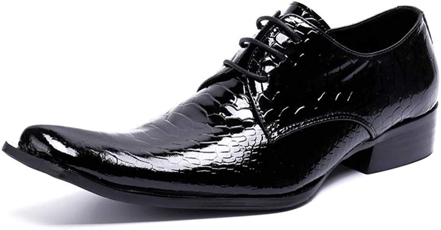 Square Head Genuine Leather Lace ups shoes Mens Patent Leather Oxford shoes for Wedding Business Work