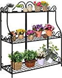 Freestanding Metal Scrollwork Design 3 Tier Plant Stand, Home Storage Organizer Shelf Rack, Black