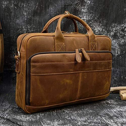 RSZHHL maletín Do Vintage louco cavalo genuíno Couro Maleta de negócios Bolsa de Couro Vaca portátil carteira Ombro Saco do mensageiro China brown2