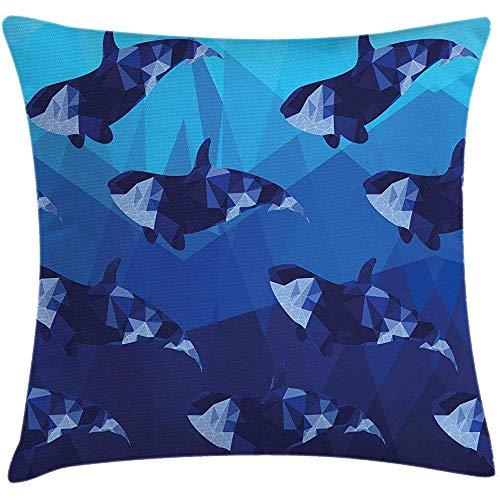 Funda de cojín con diseño de ballenas, diseño contemporáneo de siluetas de peces nadadores con detalles geométricos, estuche decorativo decorativo cuadrado, 18 'X 18', azul índigo azul cielo