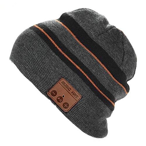 Sombrero Bluetooth gorro de punto inalámbrico gorra de invierno de música unisex cálido auricular con altavoz estéreo Auriculares y micrófono para deportes al aire libre (Raya)