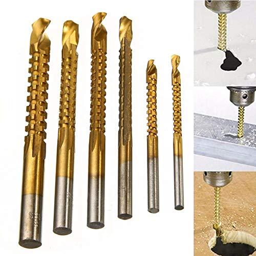 6 Stück Titanbeschichtung Hochgeschwindigkeits-Stahlbohrer Carpenter Woodworking Drilling Cut Grooving Saw Twist Drill Bits Set