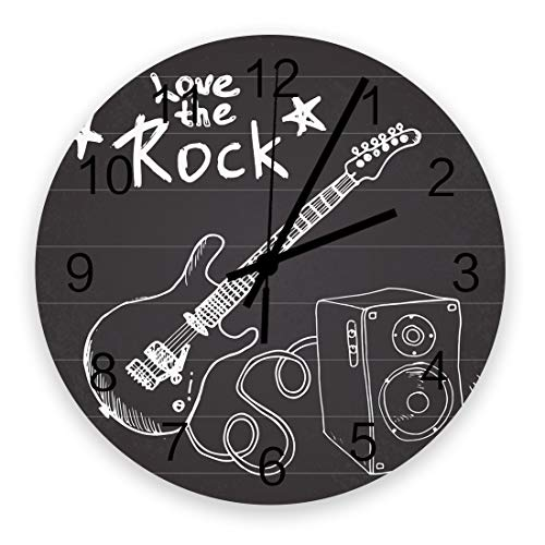 12 Inch Round Wooden Wall Clock, Love The Rock and Electric Guitar Pattern Non Ticking Silent Wall Clock, Quartz Battery Operated Easy to Read Decorative Clock for Living Room/Bedroom