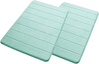 "CHuangQi Memory Foam Bath Mat for Bathroom Non Slip, Soft, Thick, Machine Washable (24""×16"", Lake Blue, Pack of 2)"