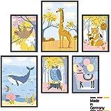 Cuadros para la habitación del bebé - Set de 6 pósters de animales - Marcos de fotos A4 y A3 para...