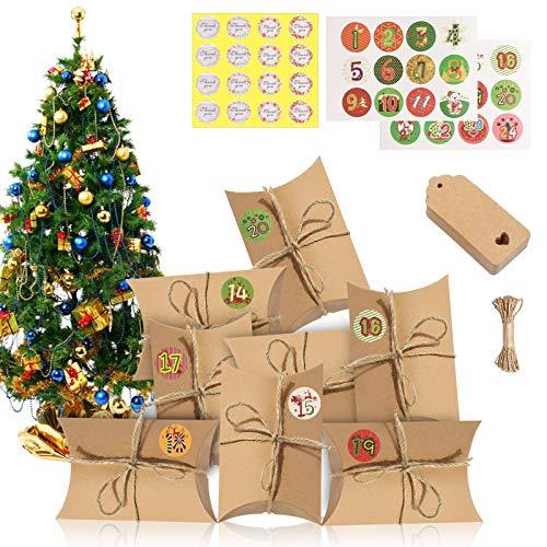Sunshine smile Adventskalender zum Befüllen,24 Adventskalender Kraftpapier Tüten mit 24 Zahlenaufklebern,Weihnachts-Geschenktüte,Kissenschachteln,Kissenschachteln