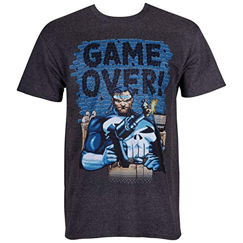 Punisher Game Over Camiseta masculina estilo arcade, Cinza, S