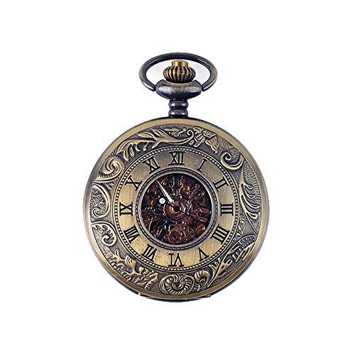 DSHUJC Reloj de Bolsillo con Tapa de Bronce, Retro, clásico, mecánico, Reloj de Bolsillo para Hombres y Mujeres, Reloj de Bolsillo conmemorativo Hueco, Regalo de cumpl