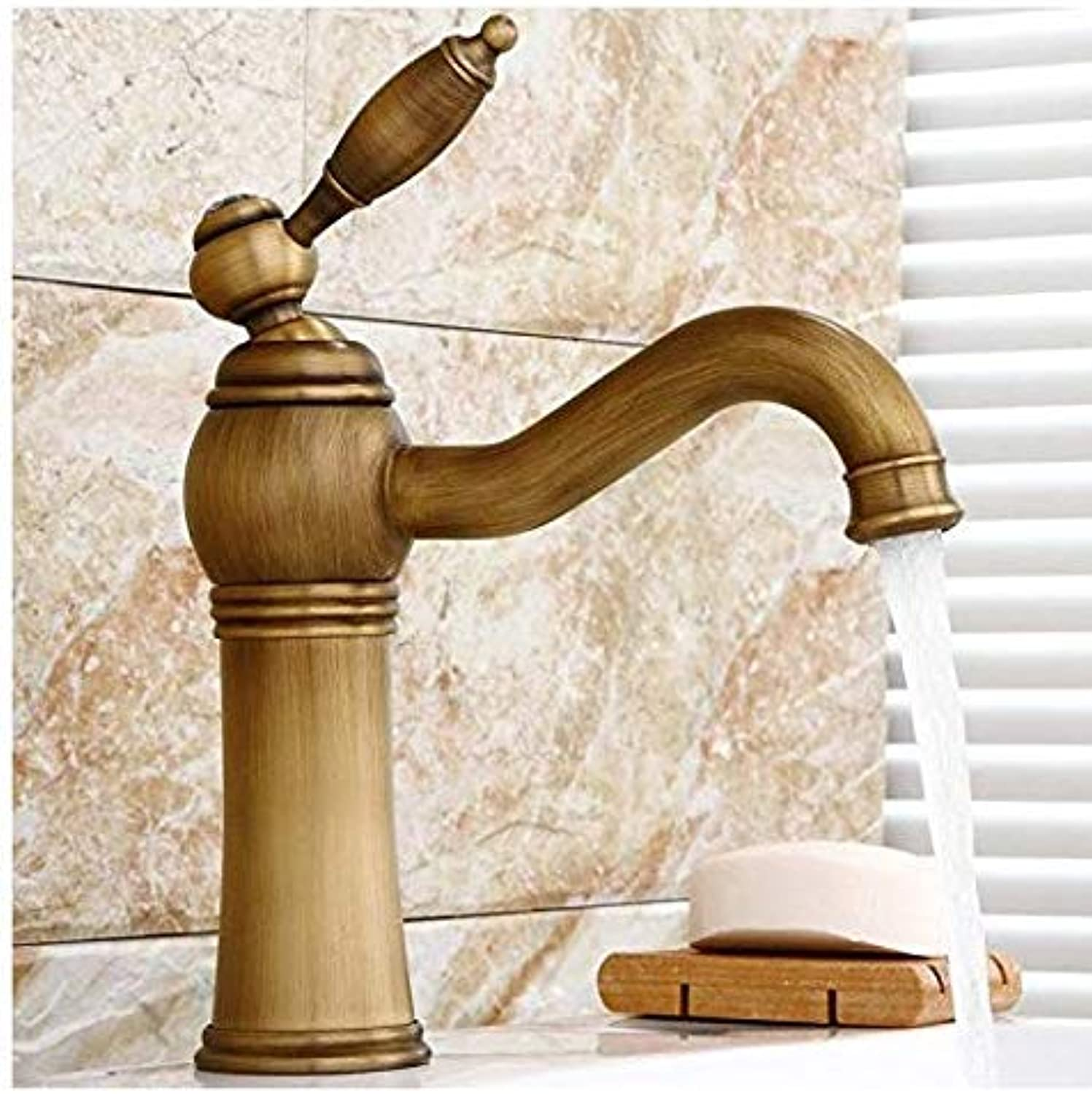 Modern Double Basin Sink Hot and Cold Water Faucetfaucet Copper Faucet European Retro Washbasin Countertop Hot and Cold Faucet