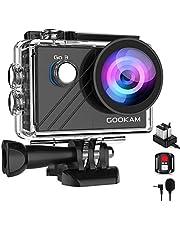 GOOKAM Go 3 Action Cam 4K WiFi actiecamera 20MP onderwatercamera Waterdichte 40M EIS sportcamera met externe microfoon 2.4G afstandsbediening Ultra HD helmcamera 170 ° groothoek met 2x1200mAh batterijen
