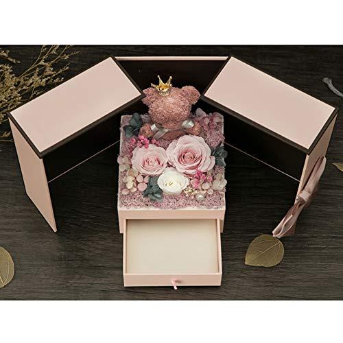 YNGJUEN Handgemachte Rosen Und Schöne kreative Teddybär-Entwurf Geschenke Valentinstag Muttertag Weihnachten Jahrestag Geburtstag Thanksgiving-Mädchen-Rosa