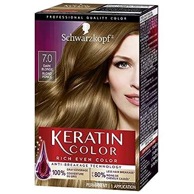 Schwarzkopf Keratin color permanent hair color cream, 7.0 dark blonde