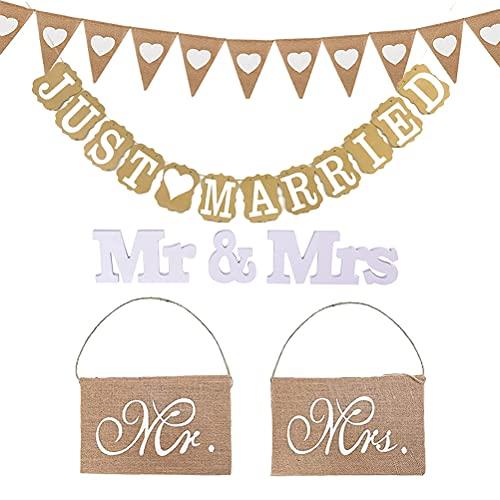 MiaLover Just Married - Juego de decoración de boda, guirnalda de arpillera...