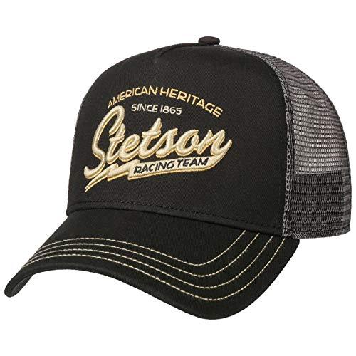Stetson Gorra Trucker Racing Team Hombre - de Baseball Malla béisbol Snapback, con Visera, Visera Verano/Invierno - Talla única Negro