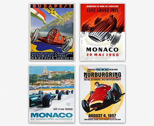 Grand Prix Poster Set of 4 Grand Prix Prints F1 Wall Art F1 Poster Motor Racing Poster Motor Racing Art Car Poster F1 Prints Grand Prix Art (16 x 20)