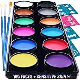 Blue Squid Face Paint Kit for Kids – 30 Stencils, 12 Large Washable...