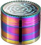 LIHAO Grinder Metálico Laberinto para Hierbas y Especias 4 Piezas de 5.2cm Multicolor