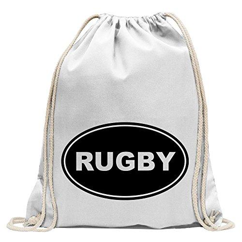 Kiwistar - Rugby Turnbeutel Fun Rucksack Sport Beutel Gymsack Baumwolle mit Ziehgurt
