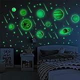 MicButty Adesivi da Parete luminoso, Murali Fluorescenti 9 Pianeti luna stelle Solare Sistema Modello Murali Sticker Decorazione per Bambini di Feste Vivente Camera da Letto Stanza del Bambino