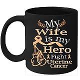 N\A Taza de café de cáncer de útero Lucha Cinta de melocotón para mi Esposa