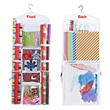 Hanging Gift Wrapping Paper Storage Organizer Bag, Double Sided Multiple Front & Back Pockets Organize Your Gift Wrap, Gift Bags Bows Ribbons 40