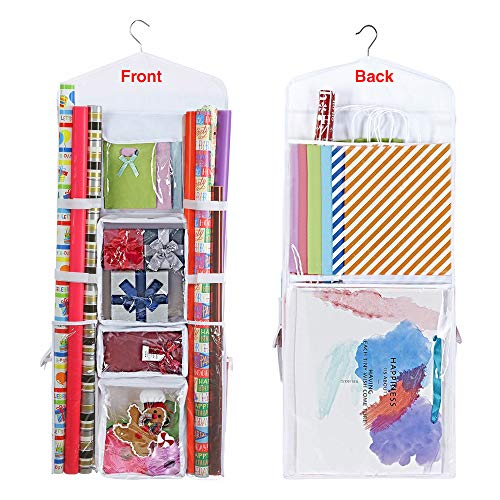 "ProPik Hanging Double Sided Wrapping Paper Storage Organizer with Multiple Front and Back Pockets Organize Your Gift Wrap & Gift Bags Bows Ribbons 40""X17 Fits 40 Inch Rolls (White)"