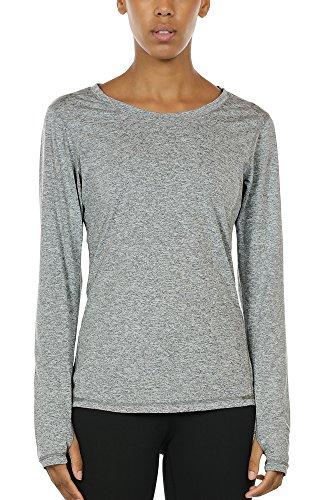 icyzone Damen Laufshirt Sport Training Langarm Shirt mit Daumenloch (Granite, M)