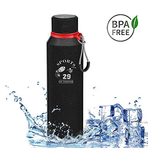 Bottiglia in Acciaio Inossidabile, 720ml Vacuum Bottiglia Termica Acciaio inox Borraccia per Acqua 24 Ore Freddo & 12 Caldo, Riutilizzabile Bottiglia Bevande Calde per Outdoor Sport Scuola Campeggio