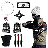 Icasy Naruto Leaf Village Adjustable Headband Naruto Kakashi Cosplay Gloves Toys Pendant Necklace Face Mask Naruto Shuriken Plastic Toy Kunai, Naruto Anime Themed Cosplay Accessories Gifts for Kids