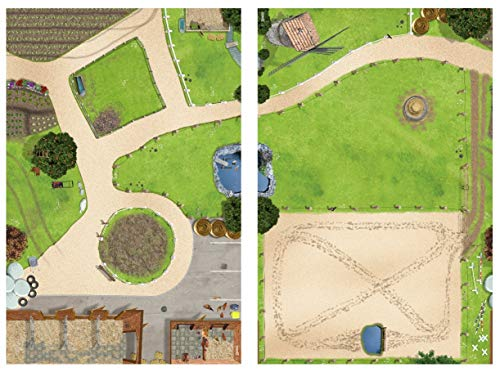 Bundle Bauernhof & Pferdekoppel Spielmatten (ähnlich Spielteppich)   SM01 & SM09   Spiel-Matte   ideales Zubehör zu Spiel-Figuren von Schleich, Playmobil, Papo, Bullyland   150x100 cm