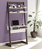 3-Tier Leaning Bookcase and Computer Desk with Drawer Open Cubby Storage - Weathered Grey and White