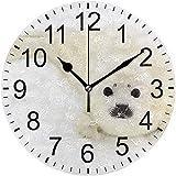 ALLdelete# Wall Clock Lindo Sello Blanco bebé Nieve Redondo acrílico Reloj de Pared sin tictac Relojes silenciosos para decoración del hogar Sala de Estar Cocina Dormitorio Oficina Escuela