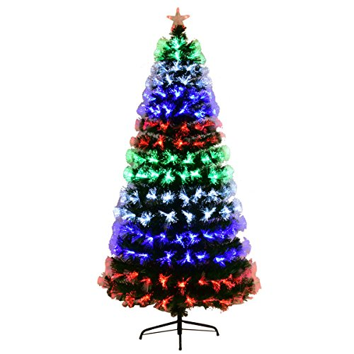 Goplus Pre-Lit Fiber Optic Christmas Tree Artificial Fireworks Spruce Tree w/Multicolor LED Lights, Top Star & Solid Metal Stand (5 Ft)