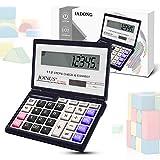 Iadong Taschenrechner, 12-stellig Standard Function Tischrechner Bürorechner Rechenmaschine Solar- und AAA Batterie Betrieb Calculator mit Großem Display, Kompaktes Design