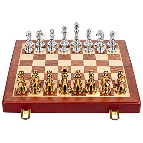 Draagbaar schaakspel, massief metalen pion houten bord voor kinderen puzzelspel bordspel 28,5 × 29,2 cm