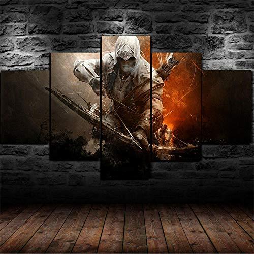 194Tdfc Assassin'S Creed Warrior Grabados, para Colgar 5 Pieza Impresión sobre Lienzo Artística Pintura Diseño HD Cuadro Moderno Pared Tejido Hogar Decoracion