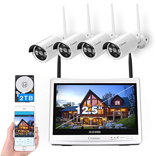"""[8CH,Expandable]All in one with 12.5"""" Monitor Wireless Security Camera System, Cromorc Home Business CCTV Surveillance 8CH 1080P NVR, 4pcs 2.0MP 1080P Outdoor Indoor Night Vision Camera,2TB Hard Drive"""