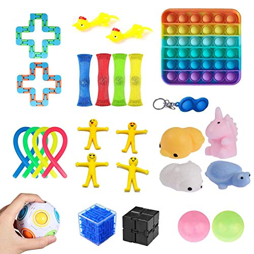 favourall 24PCS Sensory Fidget Toys For Autism, ADHD, Stress Relief, Anti-Anxiety, With Stress Ball, Stretchy String, Soybean Squeeze And More