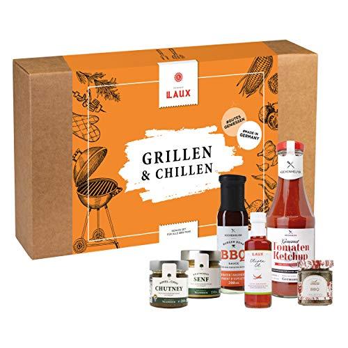 LAUX® Grillen & Chillen Feinkost Geschenkset - 5 x Feinkost BBQ Sauce & Scharfes Chili Öl - Mit Hochwertiger Geschenkbox - Ideales Geschenk für Männer