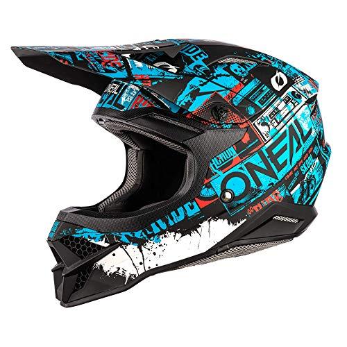 O\'NEAL | Motocross-Helm | MX Enduro Motorrad | ABS-Schale, Sicherheitsnorm ECE 22.05, Lüftungsöffnungen für optimale Belüftung & Kühlung | 3SRS Helmet Ride | Erwachsene | Schwarz Blau | Größe M