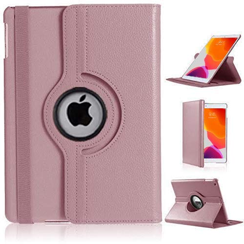 Molaali Apple iPad 8th & 7th Generation 10.2' 2020-2019 360° Rotating Smart Filo Leather Case Cover (Rose Gold)
