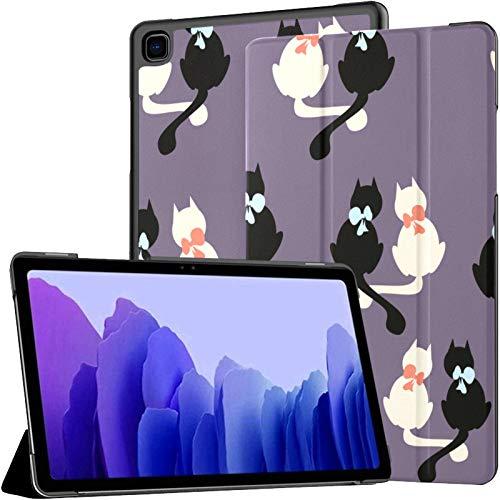 Funda de piel sintética para Samsung Galaxy Tab A7 de 10,4 pulgadas, diseño de gatos, color blanco y negro