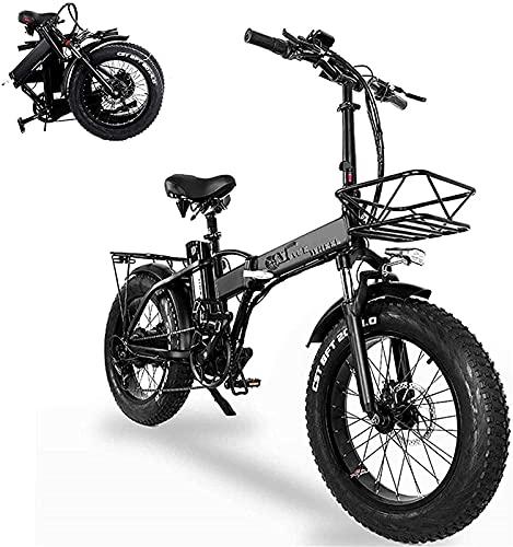 Bicicleta electrica Bicicletas eléctricas plegables para adultos 20 en con 48V de gran capacidad removible 15ah batería de litio de litio ebike con instrumento electrónico y bicicleta de canasta desmo