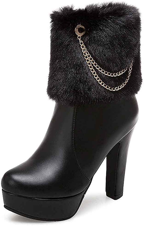 Unm Women's Dressy Short Boots with Zipper - Faux Fur Platform Round Toe - Block High Heel Ankle Booties